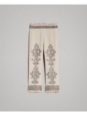 Pantaloni in lino con perline e paillettes - TWIN SET