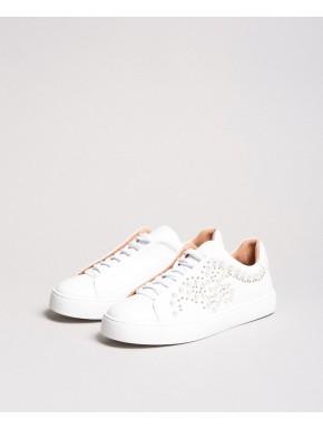 Sneakers in pelle con borchie e perle - TWIN SET