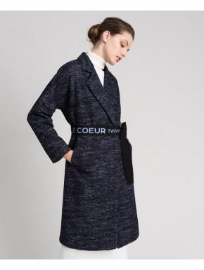 Cappotto in panno chevron con cintura - TWINSET