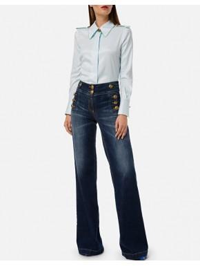 Jeans a palazzo con bottoni - ELISABETTA FRANCHI