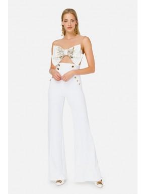 Pantalone a zampa con bottoni oro - ELISABETTA FRANCHI