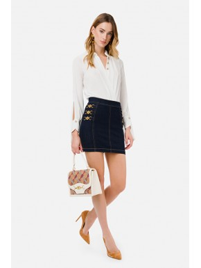 Mini gonna in jeans con morsetti light gold - ELISABETTA FRANCHI